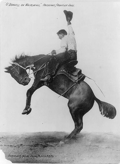 Vintage photo of a cowboy on a bucking bronco