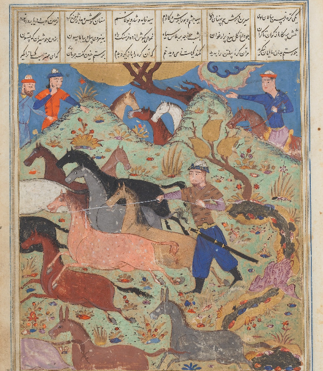"""""Rustam Lassos Rakhsh"", Folio from a Shahnama (Book of Kings)"" by Abu l Qasim Firdausi (935–1020) via The Metropolitan Museum of Art is licensed under CC0 1.0"