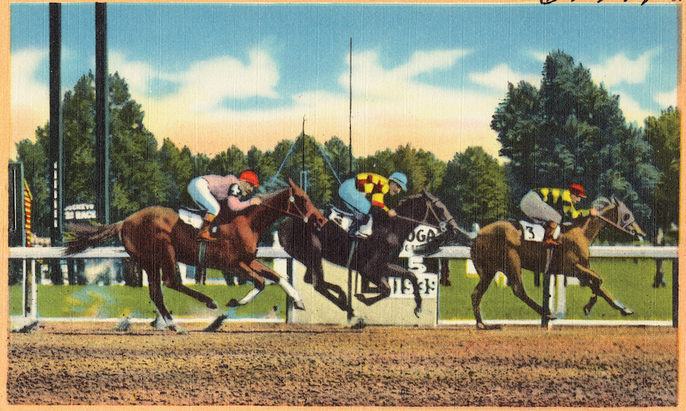 """At the finish line, Saratoga Race Track, Saratoga, New York"" by Boston Public Library 