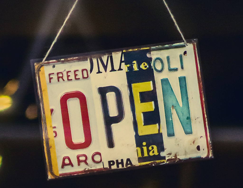 Photo of open sign