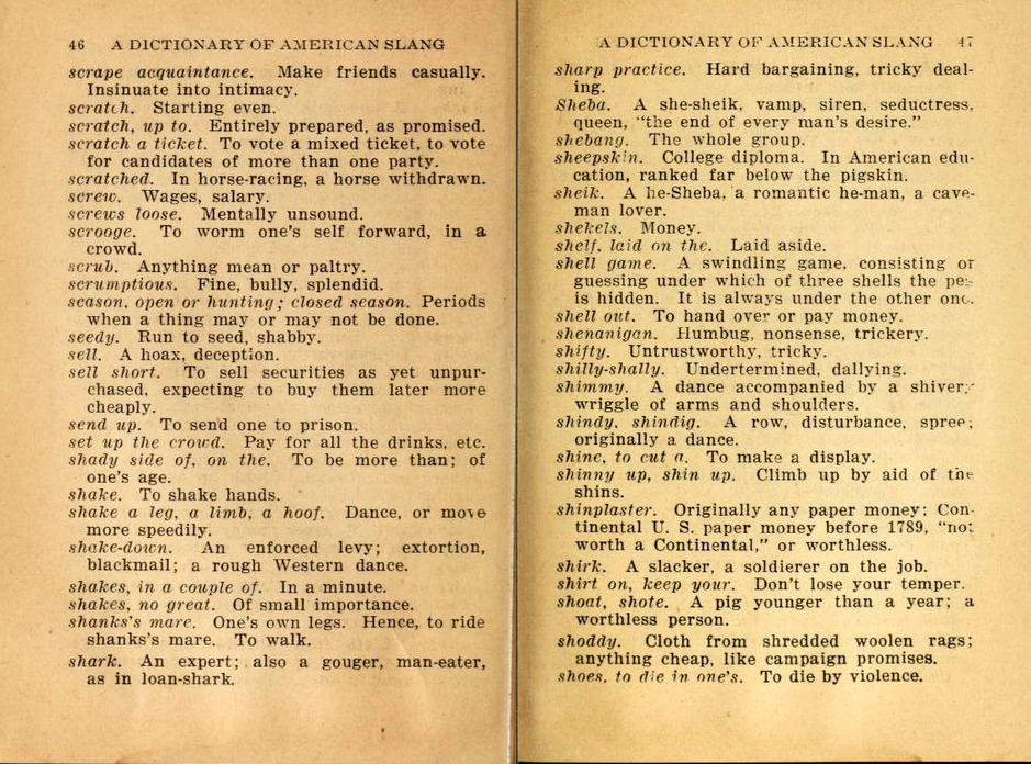 The Dictionary of American Slang, 1926
