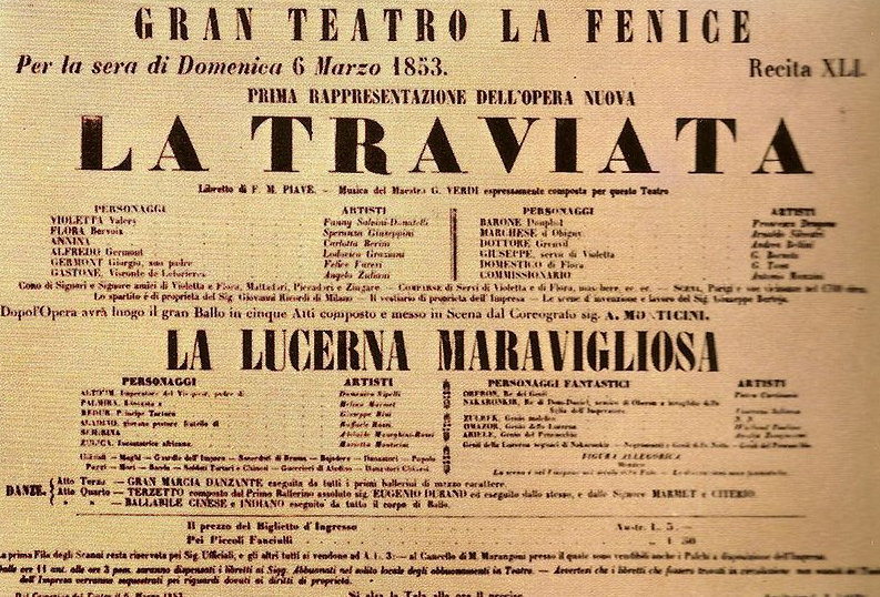 Poster advertising a performance of La Traviata in 1853