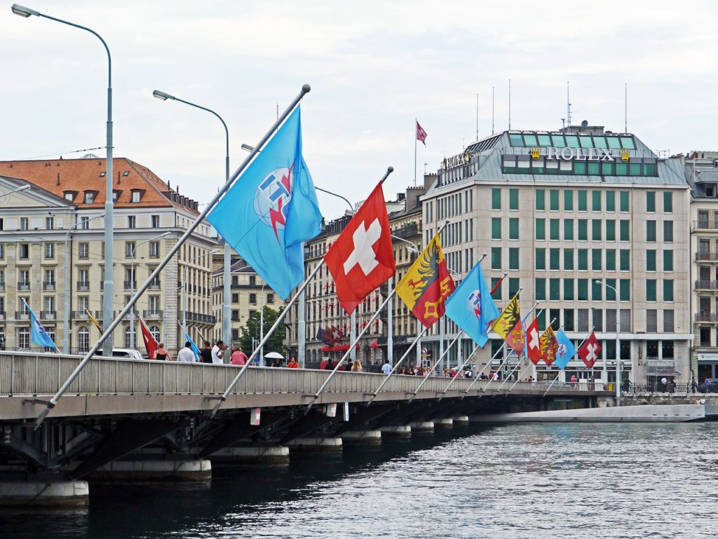 bridge with flags in Geneva