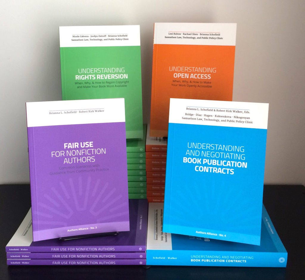 Four Authors Alliance guidebooks displayed on a shelf