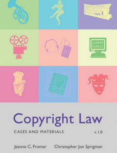 Cover of Fromer and Sprigman's copyright casebook