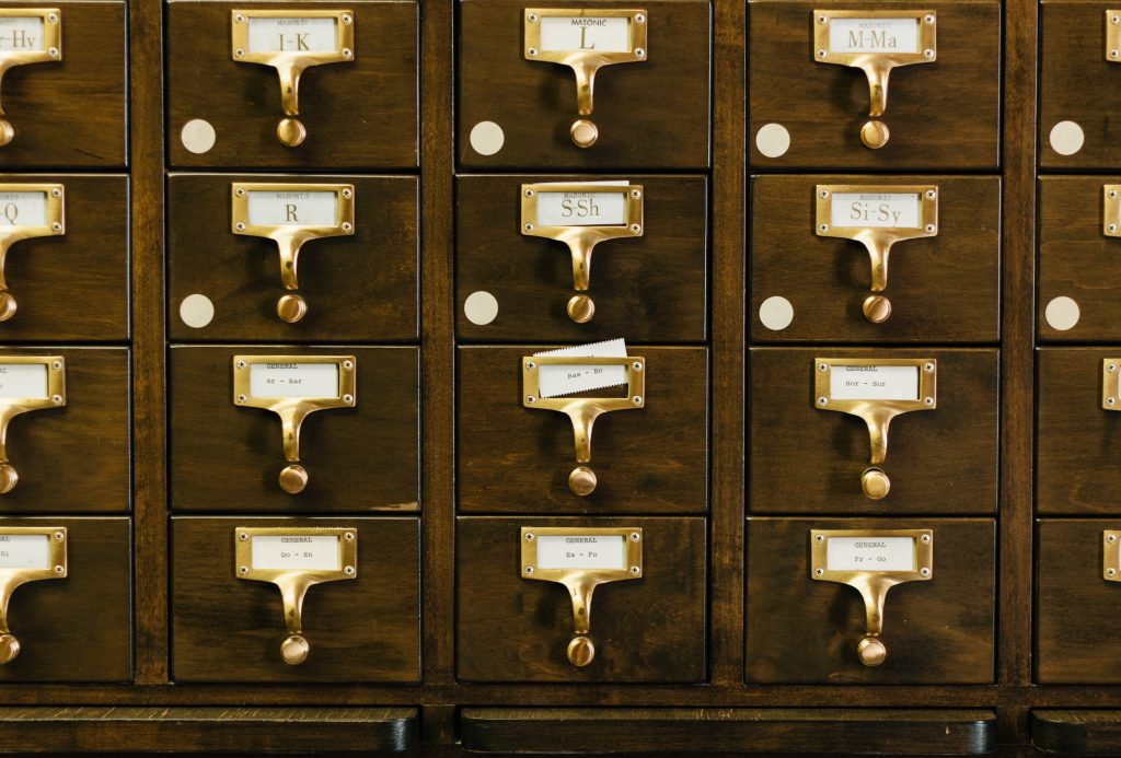 Photo of a card catalog cabinet