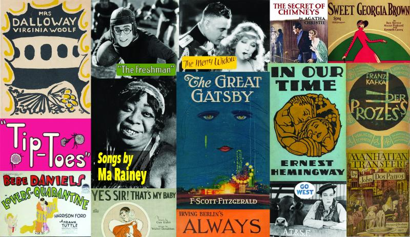 Montage of book and film covers of works entering the public domain